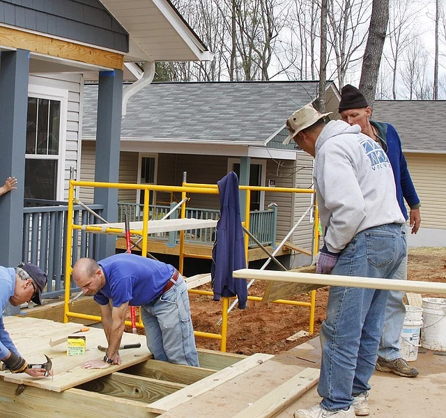 Workers Building A Deck